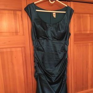 Dark Teal Satin Sangria Dress